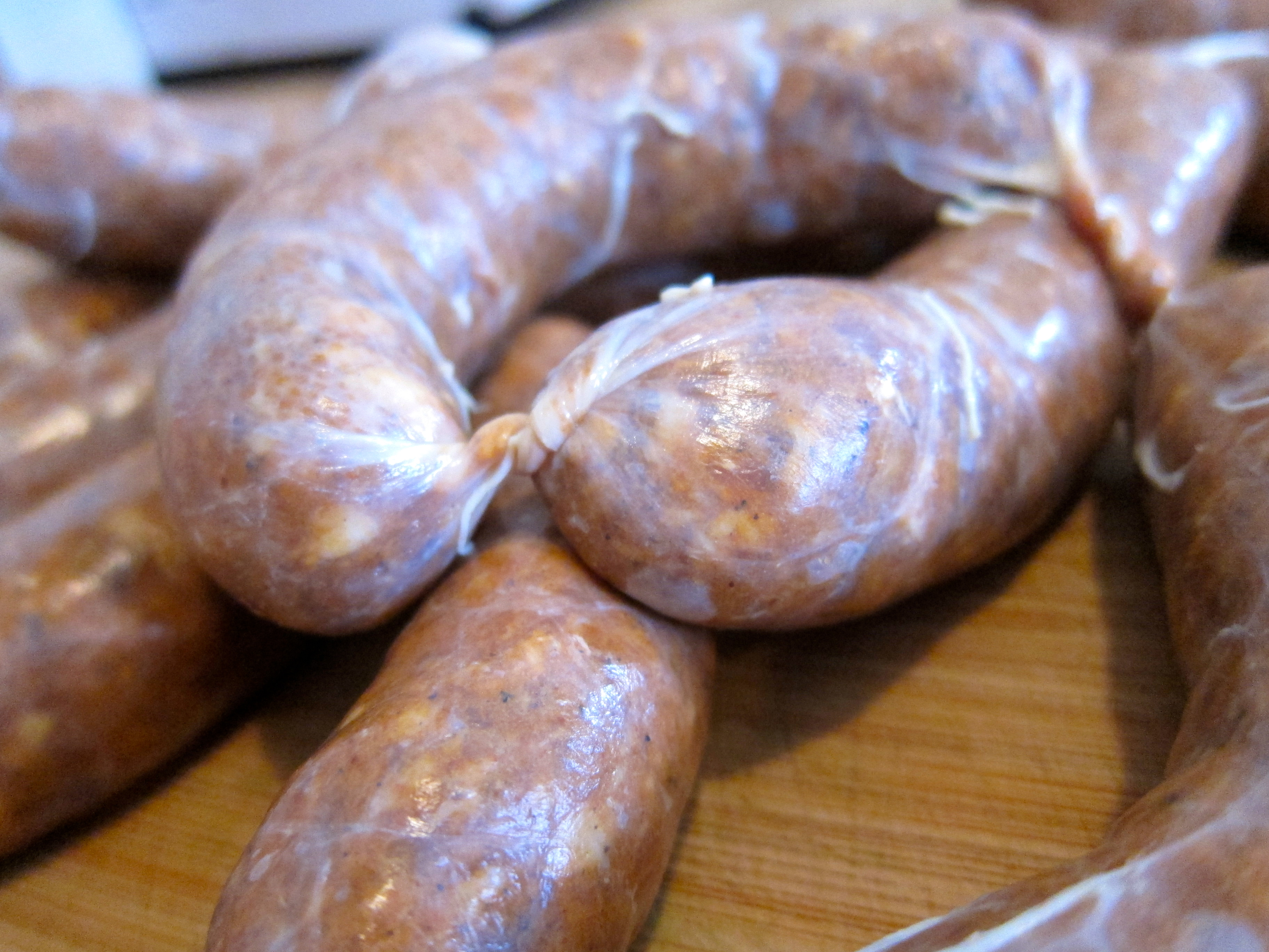 Homemade andouille sausage