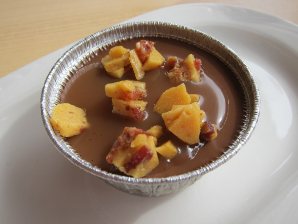 Chocolate Pot De Creme with Bacon Brittle